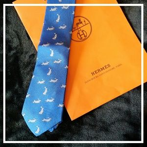 Authentic Men's Hermes Blue/Gray Bunny Silk Tie